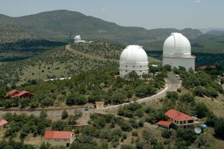 The large telescope domes of McDonald Observatory.