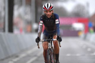 DENDERMONDE BELGIUM DECEMBER 27 Arrival Clara Honsinger of The United States Mud during the 1st Dendermonde World Cup 2020 Women Elite dendermonde CXWorldCup UCICyclocrossWC Cyclocross on December 27 2020 in Dendermonde Belgium Photo by Luc ClaessenGetty Images
