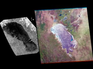 A lake on Saturn's huge moon Titan looks a lot like a Namibian salt pan.