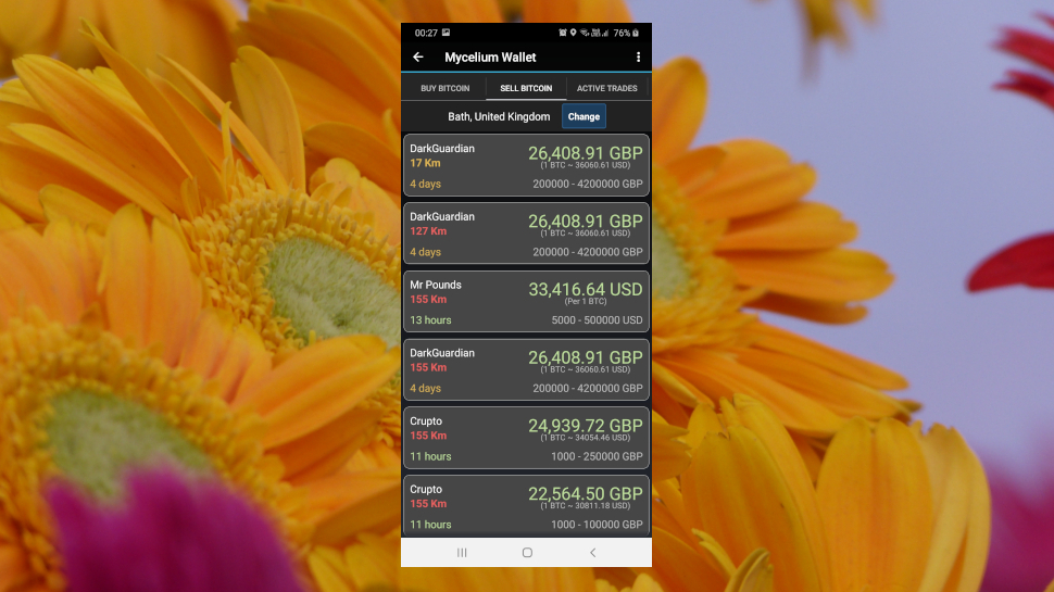 screenshot of the Mycelium cryptocurrency wallet