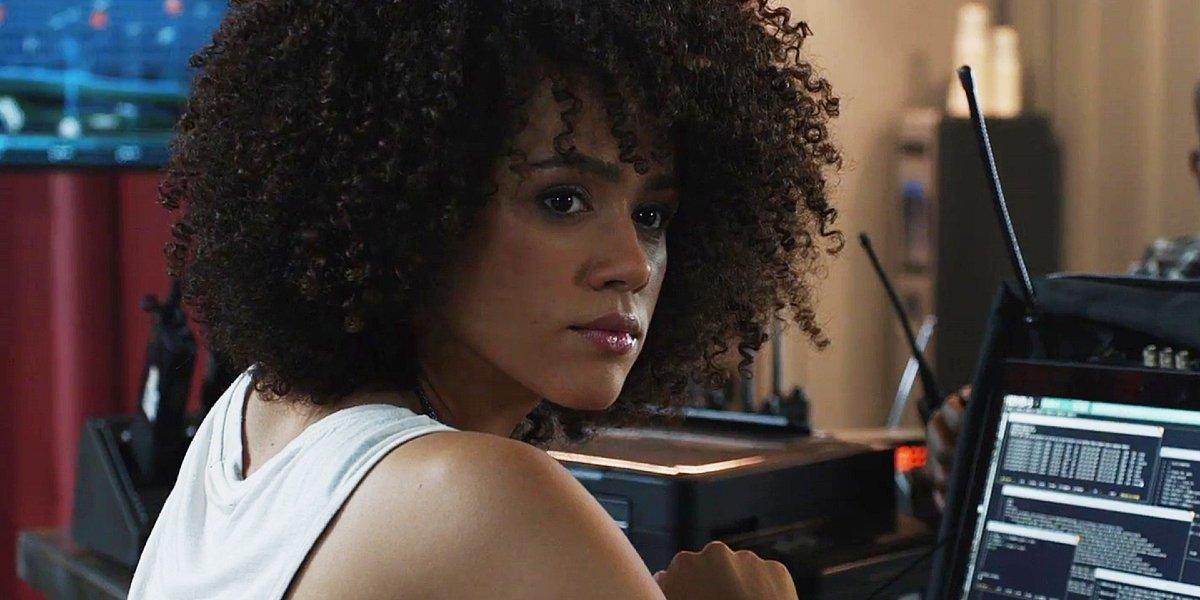 Megan Ramsey (Nathalie Emmanuel) hacking away