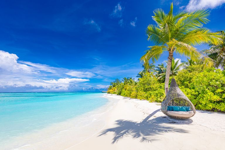 Tropical beach with palm trees, white sand and turquoise sea