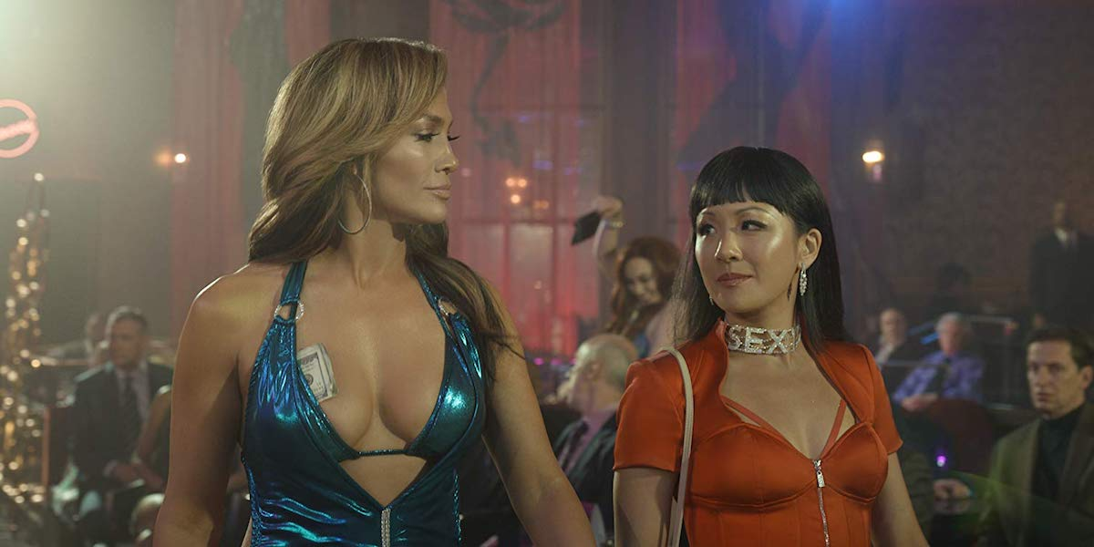 Jennifer Lopez and Constance Wu in Hustlers