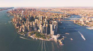 An aerial view of lower Manhattan
