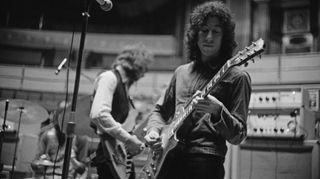 Peter Green (right) and bassist John McVie of Fleetwood Mac rehearsing at the Royal Albert Hall, London, April 22, 1969.