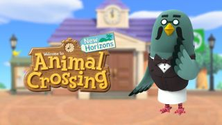 Brewster the pigeon and the Animal Crossing: New Horizons logo.