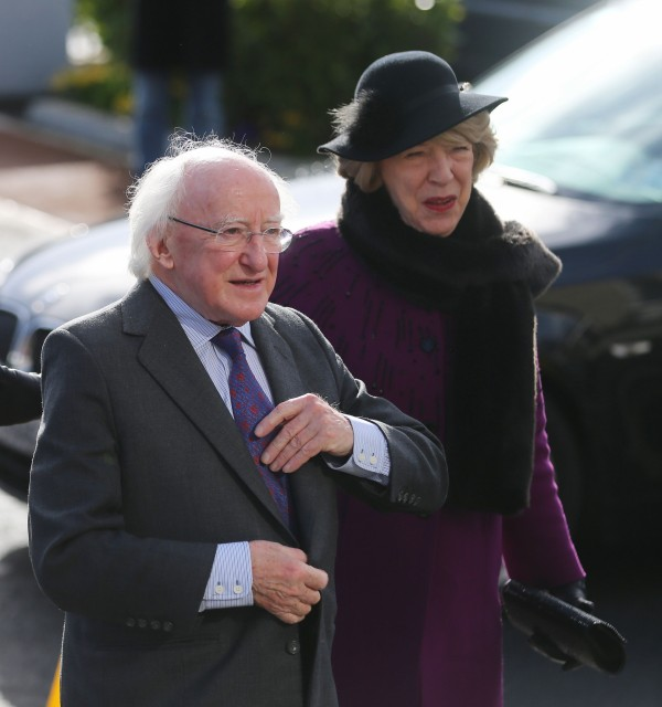 President Michael D Higgins and his wife Sabina at the funeral of late actor Frank Kelly
