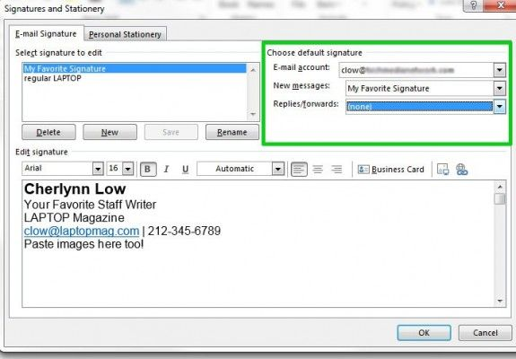 How To Create An Email Signature In Microsoft Outlook 2013 Tips And Tricks Laptop Mag