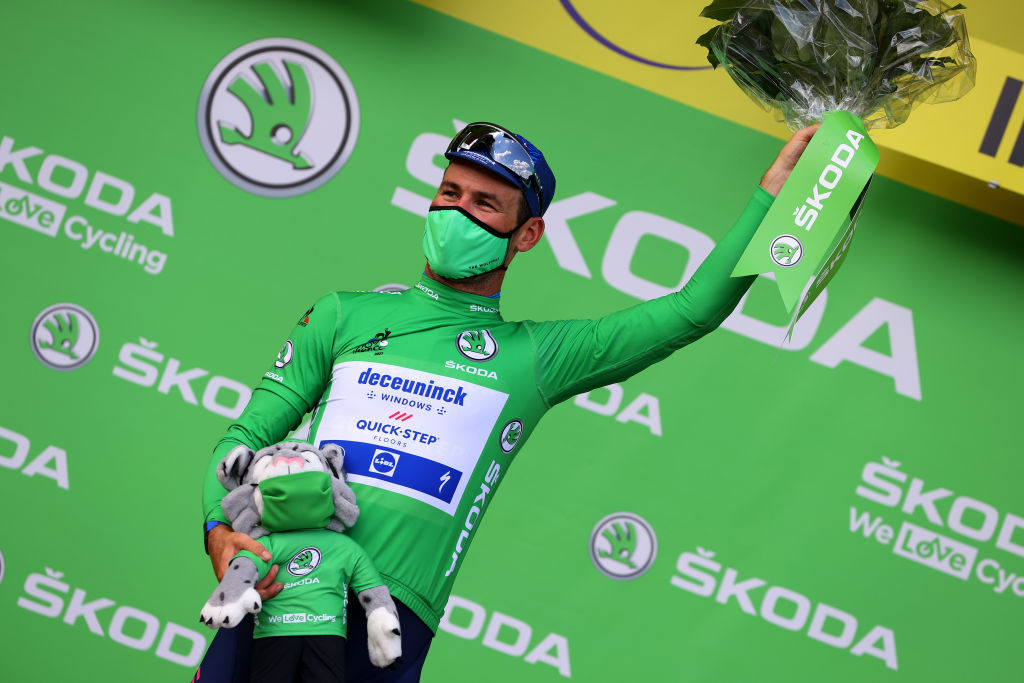 CHATEAUROUX FRANCE JULY 01 Mark Cavendish of The United Kingdom and Team Deceuninck QuickStep Green Points Jersey celebrates at podium during the 108th Tour de France 2021 Stage 6 a 1606km stage from Tours to Chteauroux Mascot LeTour TDF2021 on July 01 2021 in Chateauroux France Photo by Tim de WaeleGetty Images