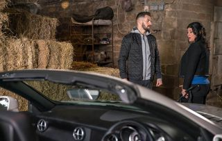 Moira Barton is furious with Ross Barton when she discovers he's been keeping a stolen car in one of her barns in Emmerdale.