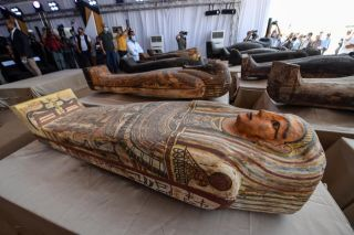 HIeroglyphic writing indicates that many of the people buried in the coffins were priests.