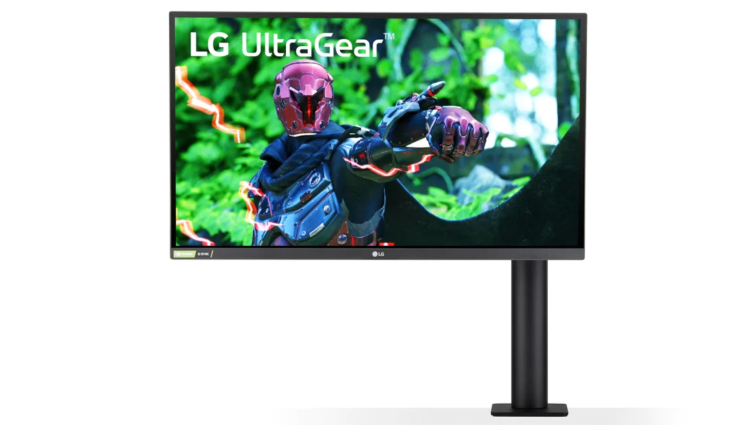 The LG UltraGear Ergo 27GN88A and its extremely versatile mount on a white background