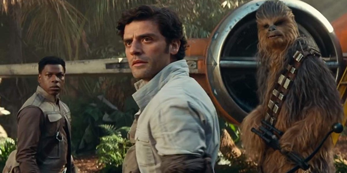 Star Wars: Rise of Skywalker Poe, Finn, and Chewbacca standing in front of an X-Wing