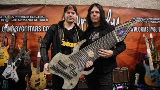 Jared Dines with his one-off 18-string and its creator, Perry Ormsby
