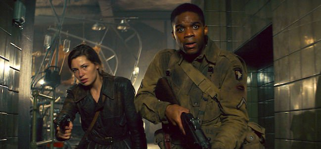 Overlord solider and woman in the hall hunting mutant nazi zombies