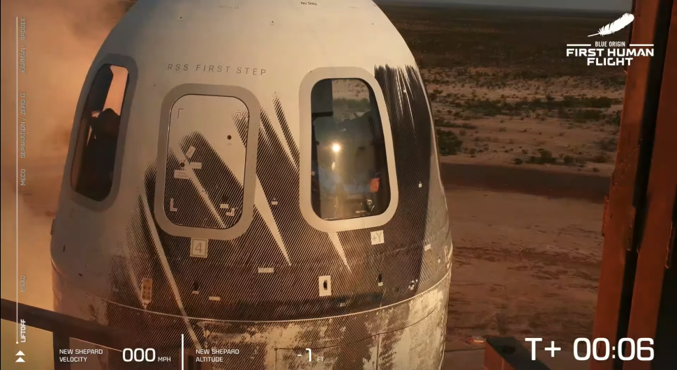 Jeff Bezos launches into space on Blue Origin's 1st astronaut flight