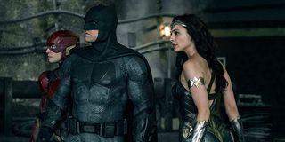 Ezra Miller, Ben Affleck and Gal Gadot in Justice League