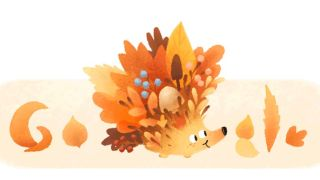 Google celebrated the 2021 autumn equinox with the release of this doodle of a spiky hedgehog awash in autumn colors.
