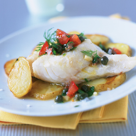 Baked cod with anchovy salsa-fish recipes-woman and home