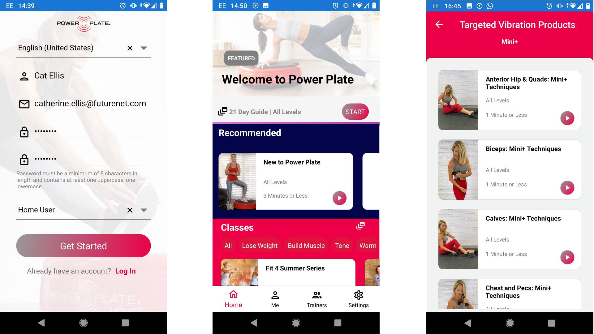 Power Plate mobile app screengrabs