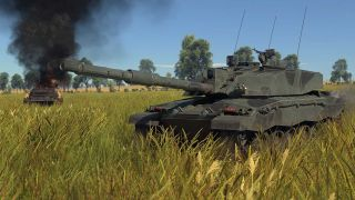 A tank sits ominously in the foreground, as an enemy tank smolder in the background
