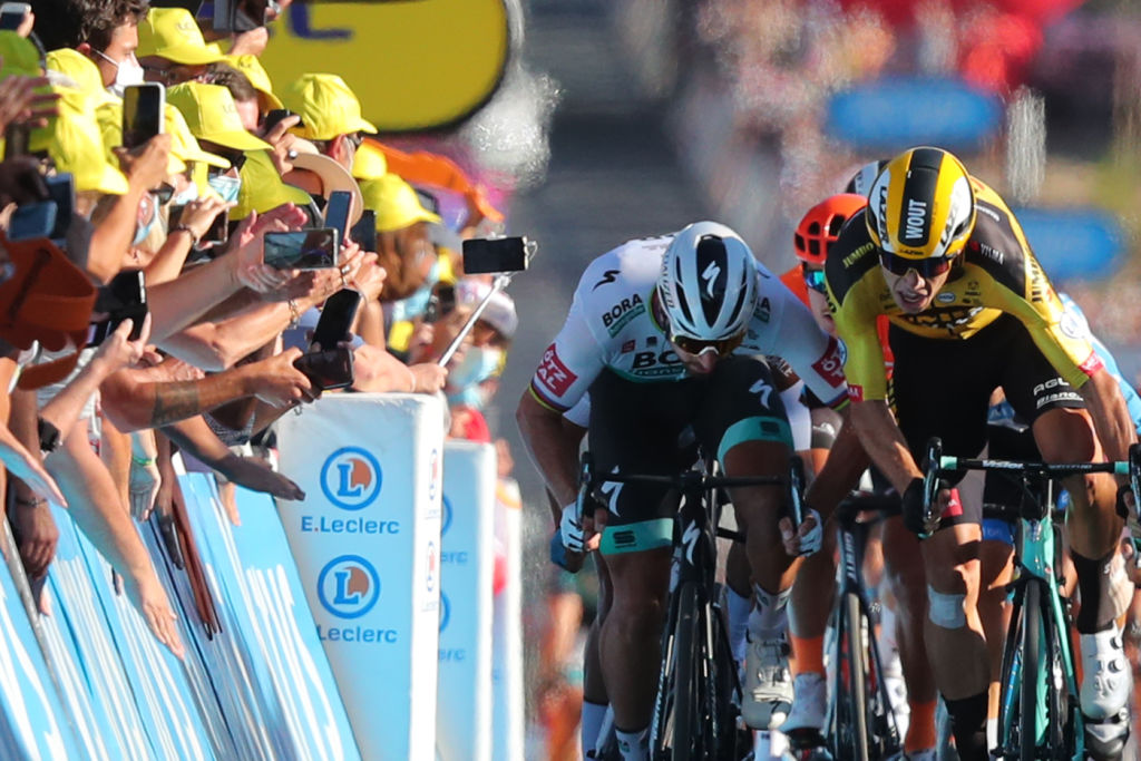 Team Bora rider Slovakias Peter Sagan L and Team Jumbo rider Belgiums Wout van Aert 2ndL sprint at the end of the 11th stage of the 107th edition of the Tour de France cycling race 167 km between Chatelaillon Plage and Poitiers on September 9 2020 Photo by Thibault Camus various sources AFP Photo by THIBAULT CAMUSAFP via Getty Images