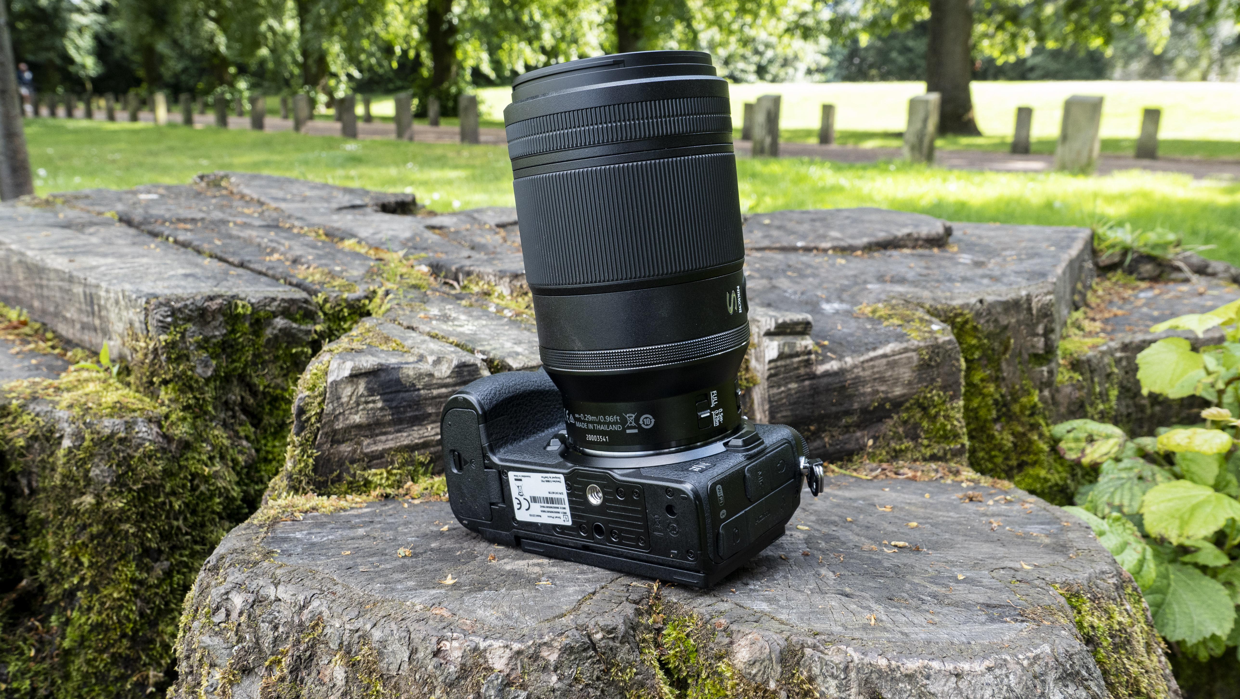 The underside of a Nikon Z7 II with the Nikon Nikkor Z MC 105mm f/2.8 VR S lens
