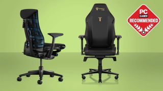 The best gaming chairs guide header image with Logitech Herman Miller Embody chair and Secretlab Titan Evo 2022 on a green background with PC Gamer recommend badge.