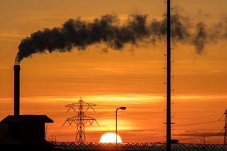 Smokestack at sunset