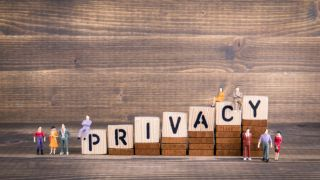 Privacy, GDPR. General Data Protection Regulation. Cyber security and privacy concept. Wooden letters on the office desk, informative and communication background - Image