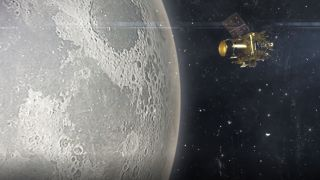 An artist's depiction of the Chandrayaan-2 orbiter studying the moon.
