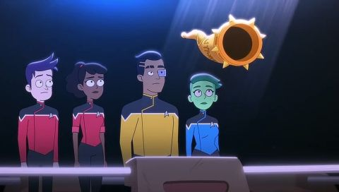 The ensigns prepare to testify at an alien trial.
