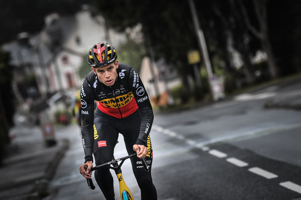 Belgian Wout Van Aert of Team JumboVisma pictured in action at the last kilometers of first stage during a training session ahead of the 108th edition of the Tour de France cycling race in Brest France Friday 25 June 2021 This years Tour de France is taking place from 26 June to 18 July 2021 BELGA PHOTO DAVID STOCKMAN Photo by DAVID STOCKMANBELGA MAGAFP via Getty Images