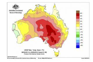 Australian Max temperature anomalies map