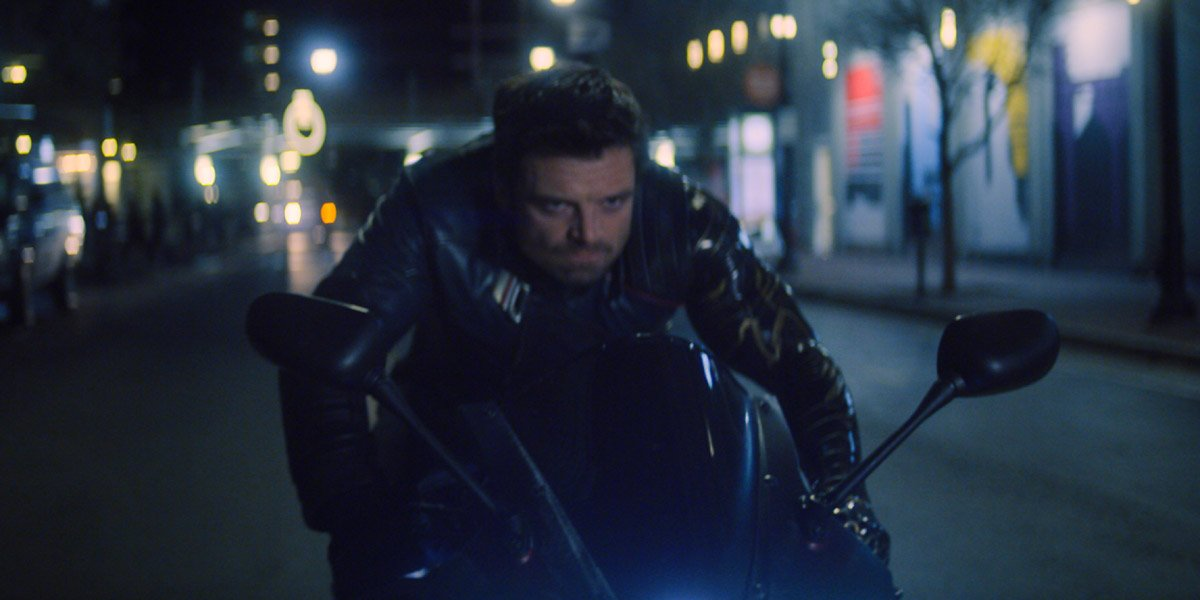 The Winter Soldier (Sebastian Stan) riding a motorcycle in The Falcon And The Winter Soldier