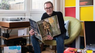 Andrew Cartmel photographed for Prog Magazine's Record Collection 2021