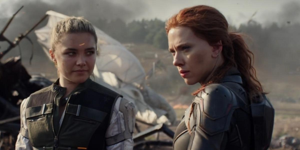 "Natasha Romanoff/Black Widow (Scarlett Johansson) right and Yelena Belova (Florence Pugh) left in Marvel's ""Black Widow"" (2021)"