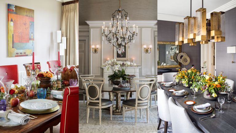 A composite of dining table decor ideas