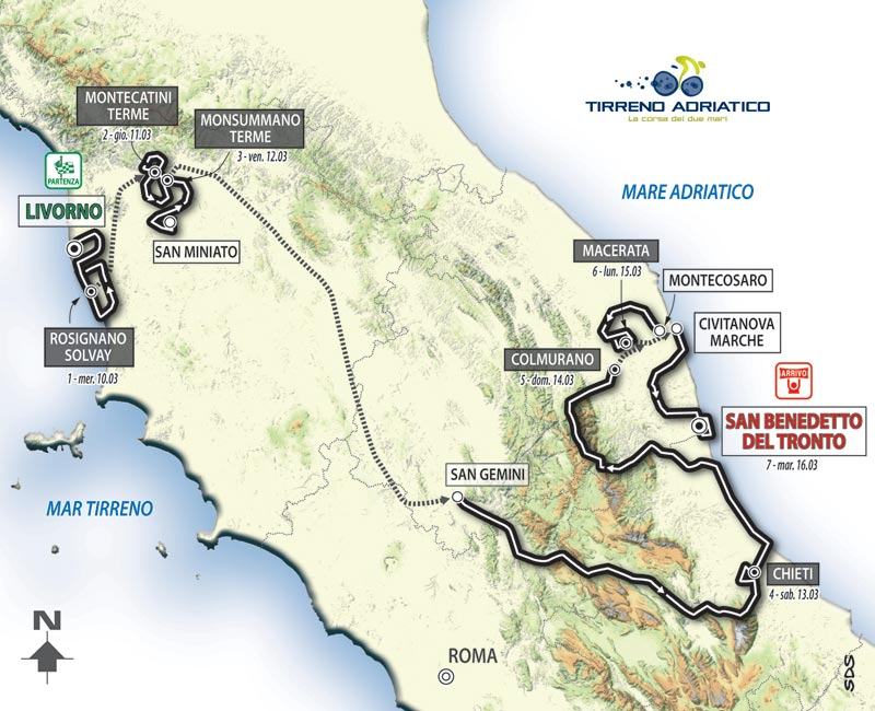 Tirreno-Adriatico 2010 map