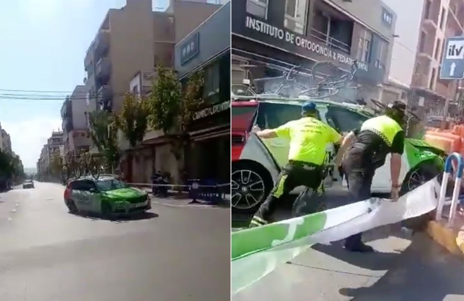 Watch: The moment Euskadi-Murias car crashes on Vuelta a España time trial course