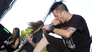 Randy Blythe and Lamb of God perform as part of Ozzfest 2004 at Shoreline Amphitheater
