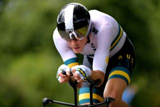 Australia's Rohan Dennis en route to defending his elite men's time trial title at the 2019 UCI Road World Championships