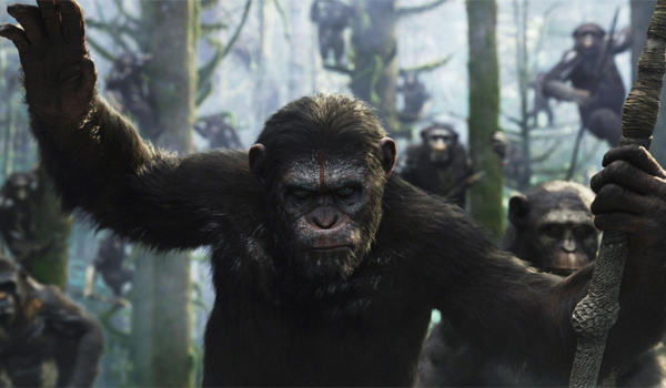 Dawn Of The Planet Of The Apes Caesar With Apes Hunting
