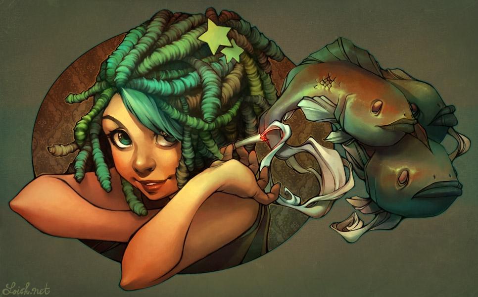 Girl with green dreadlocks holding fish
