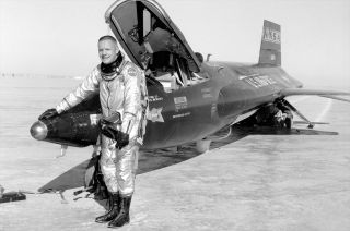 Neil Armstrong in Front of X-15 Rocketplane