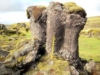 mossy lava pillar in Iceland