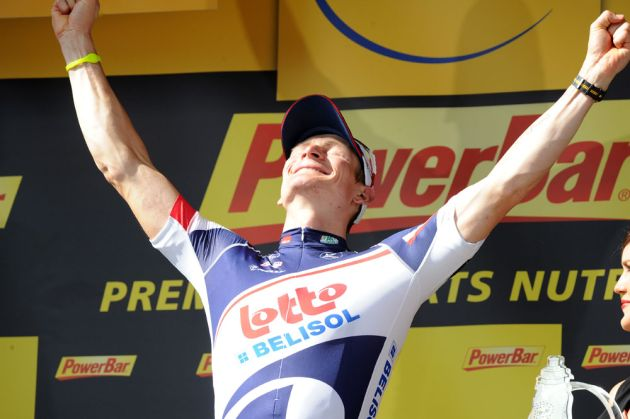 Andre Greipel on podium after stage four, Tour de France 2012