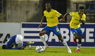 Peter Shalulile and Themba Zwane of Mamelodi Sundowns FC