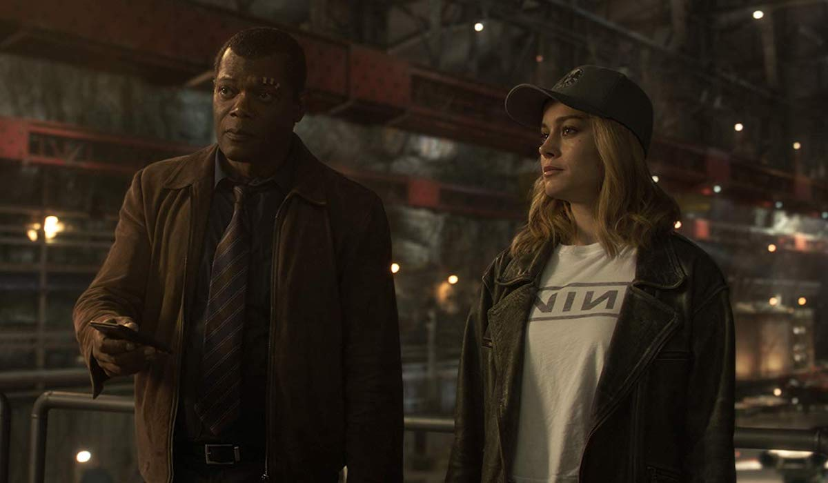Samuel L. Jackson and Brie Larson as Nick Fury and Carol Danvers in Captain Marvel