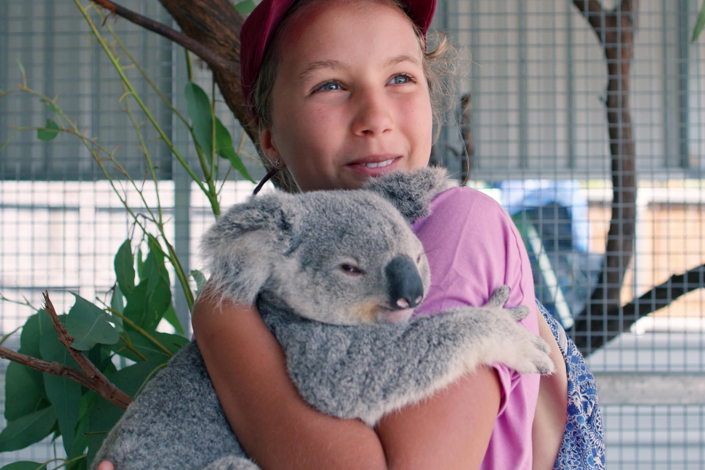 Izzy and her cuddly Koala bear.